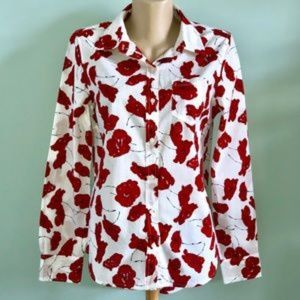 Gap XL Crisp Cotton Red Poppies Shirt